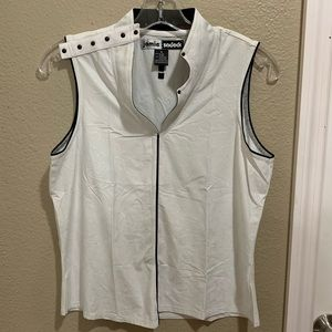 JAMIE SADOCK White & Black Embellished Golf Top M